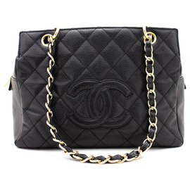 Chanel-CHANEL Caviar Chain Shoulder Bag Shopping Tote Black Quilted Purse-Black