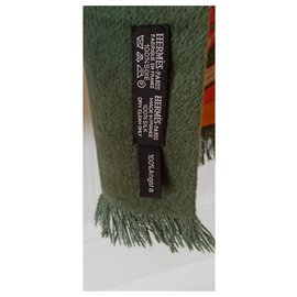 Hermès-lined sided scarf-Green,Orange