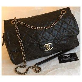 Chanel-Sac à bandoulière avec rabat Card Caviar en marron-Marron
