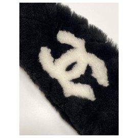 Chanel-Chanel black mouton headband-Black