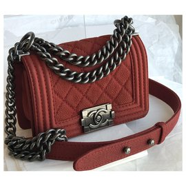 Chanel-W/card, box, dustbag Boy Limited Flap Bag-Red
