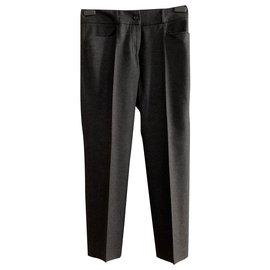 Yves Saint Laurent-Pantalon en laine gris foncé-Gris anthracite