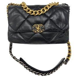 Chanel-CHANEL grand sac 19 à rabat chanel 19 BAG BORSA-Noir