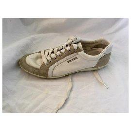 Prada-Prada Sneakers-Blanc,Gris