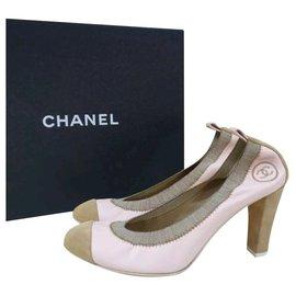 Chanel-Chanel Beige Suede Leather  Pumps Heels Shoes Sz 38,5-Beige