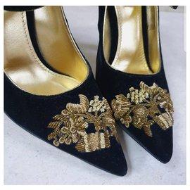 Dolce & Gabbana-NWOB Dolce & Gabbana Runway Black Gold Evening Mary Jane Talons-Noir,Doré