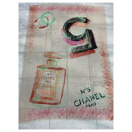 Chanel-CHANEL stole in pure cashmere-Multiple colors
