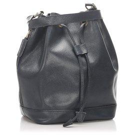 Céline-Celine Black Leather Bucket Bag-Black