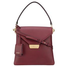 Prada-Prada Red Ingrid Leather Satchel-Red,Dark red
