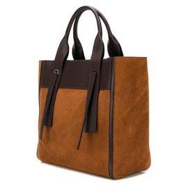 Prada-Prada Brown Medium Ouverture Suede Tote Bag-Brown,Dark brown