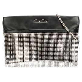 Miu Miu-Miu Miu Black Embellished Calf Leather Clutch-Black