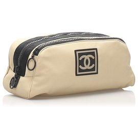 Chanel-Chanel Brown CC Sports Line Nylon Pouch-Brown,Black,Beige