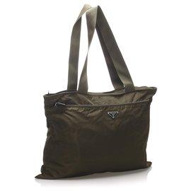 Prada-Prada Brown Tessuto Tote Bag-Brown,Khaki