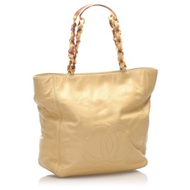 Chanel-Chanel Brown CC Lambskin Leather Tote Bag-Brown,Beige