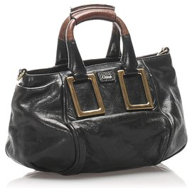 Chloé-Chloe Black Ethel Leather Satchel-Brown,Black