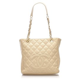 Chanel-Chanel Brown Caviar Petite Shopping Tote-Brown,Beige