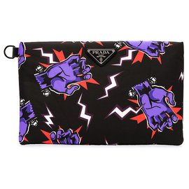 Prada-Prada Black Tessuto Stampato Clutch Bag-Black,Multiple colors