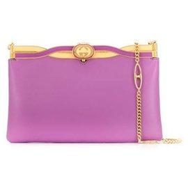 Gucci-Gucci Purple Broadway Leather Evening Bag-Golden,Purple