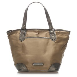 Burberry-Burberry Brown Nylon Tote Bag-Brown,Bronze