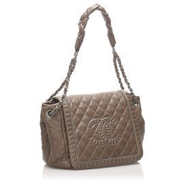 Chanel-Chanel Brown Classic CC Lambskin Leather Flap Bag-Brown