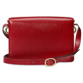 Gucci-Gucci Red GG Ring Leather Shoulder Bag-Red