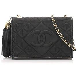 Chanel-Chanel Black CC Satin Chain Crossbody Bag-Black