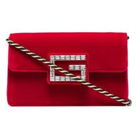 Gucci-Gucci Red Broadway Velvet Crossbody Bag-Red