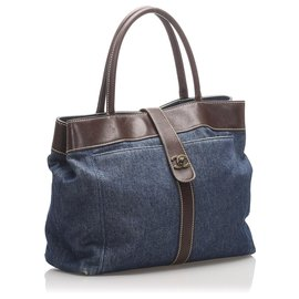 Chanel-Sac cabas en denim CC bleu Chanel-Marron,Bleu,Autre