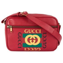 Gucci-Gucci Red Logo Leather Crossbody Bag-Red,Multiple colors