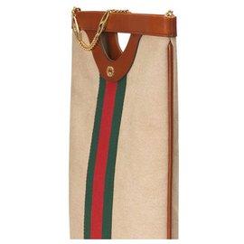 Gucci-Gucci Brown Web Canvas Tote Bag-Brown,Multiple colors,Beige