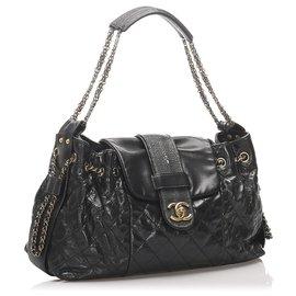 Chanel-Sac à bandoulière Chanel Accordion Bindi Stingray noir-Noir