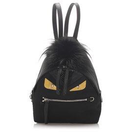 Fendi-Fendi Black Mini Monster Backpack-Black,Yellow