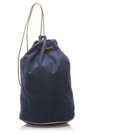 Hermès-Hermès Bleu Canevas Polochon Mimile-Marron,Bleu,Bleu Marine