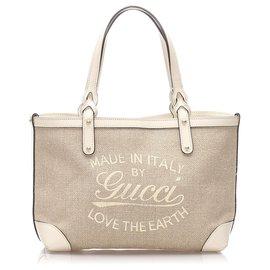 Gucci-Sac cabas en toile Gucci Brown Craft-Marron,Blanc,Beige