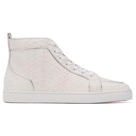 Christian Louboutin-Christian Louboutin White Rantus Flat Leather Sneakers-White
