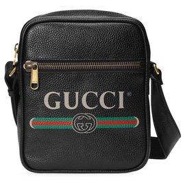 Gucci-Sac cabas en cuir à logo noir Gucci-Noir,Multicolore
