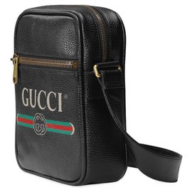 Gucci-Gucci Black Logo Leather Tote Bag-Black,Multiple colors