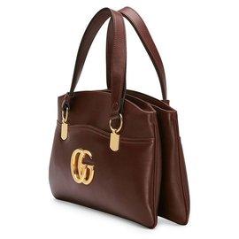 Gucci-Gucci Brown Arli Leather Handbag-Brown