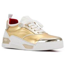 Christian Louboutin-Christian Louboutin White Aurelien Donna Leather Sneakers-White,Golden