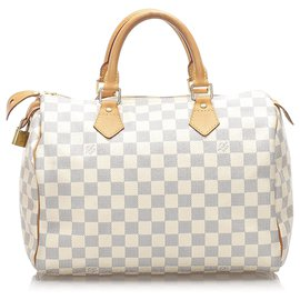 Louis Vuitton-Louis Vuitton White Damier Azur Speedy 30-Blanc,Bleu