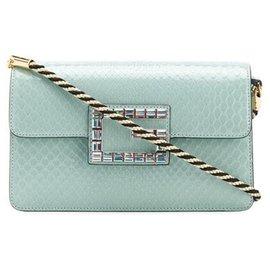 Gucci-Gucci Blue Broadway Python Leather Crossbody Bag-Blue,Light blue