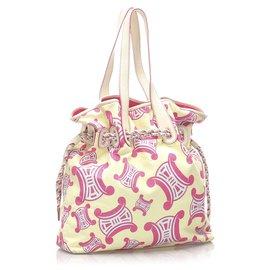 Céline-Celine White Printed Canvas Tote Bag-Pink,White