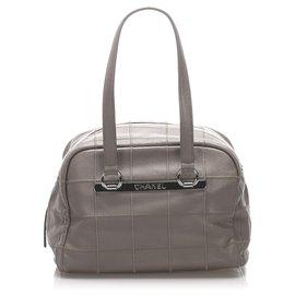 Chanel-Chanel Gray Choco Bar Caviar Leather Shoulder Bag-Grey