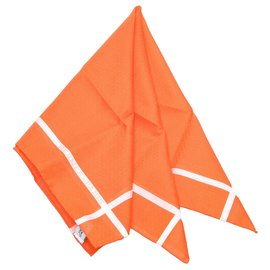 Hermès-Mouchoir Hermes Orange Jacquard d H-Orange