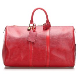 Louis Vuitton-Louis Vuitton Rouge Epi Keepall 45-Rouge