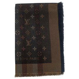 Louis Vuitton-LOUIS VUITTON MONOGRAMME SO SHINE BROWN SHAWL (M71548)-Marron