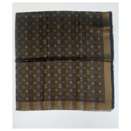 Louis Vuitton-LOUIS VUITTON MONOGRAMME SO SHINE BROWN SHAWL (M71548)-Marron