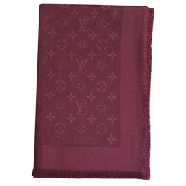 Louis Vuitton-LOUIS VUITTON CHÂLE MONOGRAMME BORDEAUX COULEUR M71359-Bordeaux