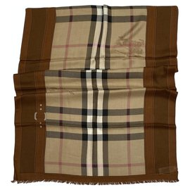 Burberry-Burberry Vintage Check Shawl Cashmere Modal-Beige