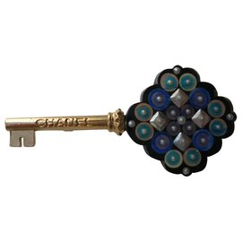 Chanel-CHANEL Key Brooch Golden Metal Crafts New Condition-Multiple colors